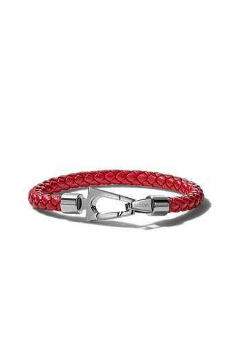 The nautical inspiration is easily visible in the color scheme and design. The red leather is braided into a thin rope bracelet and clasped with a unique stainless steel clasp.