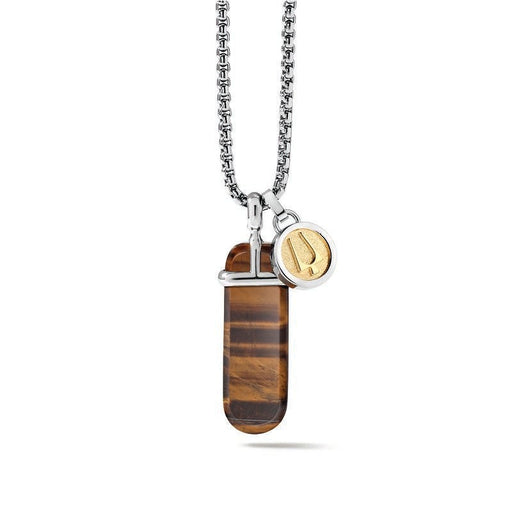 The polished and rounded tiger's eye stone pendant set in stainless steel and hanging from a round box link stainless steel chain is accompanied by a removable gold tone tuning fork charm.