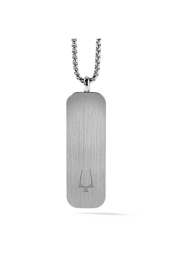Sleek stainless steel dog tag pendant engraved with the Bulova logo on one side and signature tuning fork on the other makes a classic layering piece.