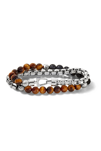 This double-wrap bracelet features tiger's eye beads and contrasting black lava beads and the other wrap is a starkly different stainless steel link chain. The Bulova tuning fork logo provides signature detail on a single bead bringing the entire look together.