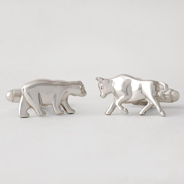 Sterling Silver Bull & Bear Cuff Links