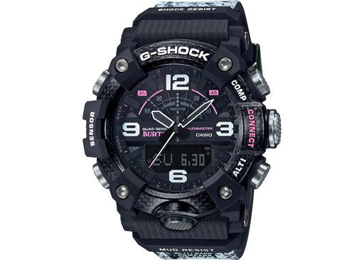 The bold design of this G-Shock has many prominent features such as the large gray front and side buttons, black and silver outlined hands, large numerals, and unique band. The watch is mainly black with some stylish pattern on the case and purple/pink accents within the face.
