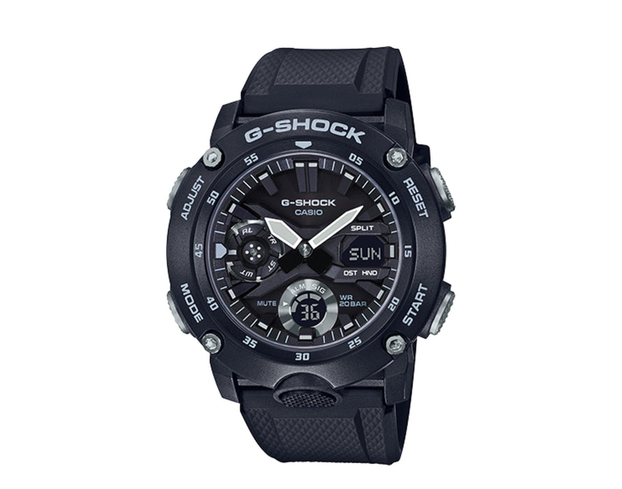 This watch is a black monotone color with simple highlight colors that accent the forms of these watches. A multidimensional face, a big front button, and other design elements create a powerful and tough design.