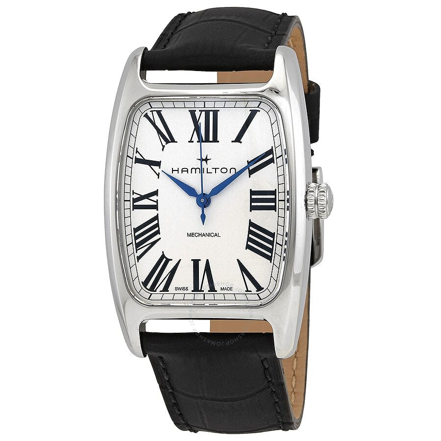 Featured is the unique stainless steel case shape of the American Classic Boulton Mechanical and black cow leather strap. The face is white with a pop of color from the blue hands.