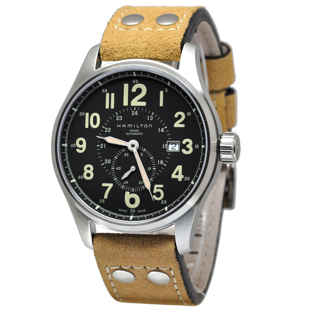 Featuring the bold numerals on a black dial framed by the stainless steel case, the Hamilton Khaki Field Officer commands attention while the beige cow leather strap creates a more casual feel.