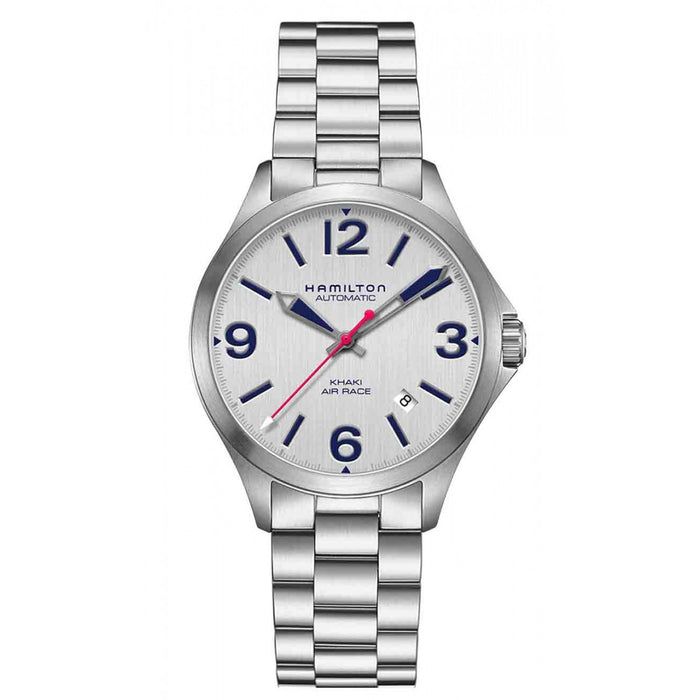 The round face and intentional color combination of this watch create a classy and formal aesthetic. The silver dial, stainless steel case, and stainless steel link strap create a cohesive look that encompasses the bold blue numerics and complimentary blue and red hands. The overall design, materials, and colors make for a simple and professional timepiece that needs no extra flair.