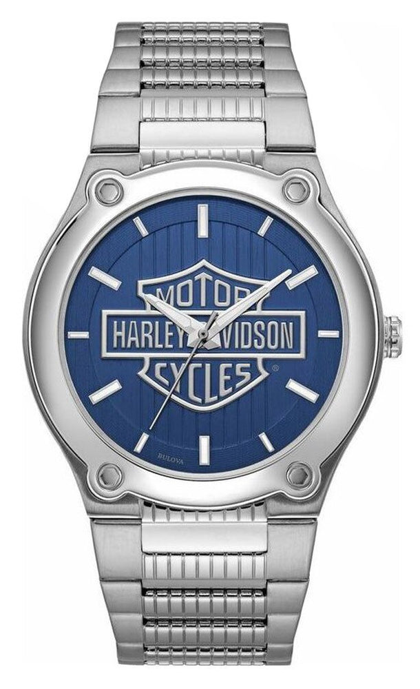 Blue patterned dial with large Harley-Davidson logo. Luminous hands and markers. Silver second hand with signature H-D counterweight. Stainless steel case and bracelet. Snap back. Fold-over clasp with safety lock.