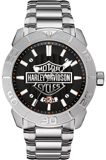 This stainless steel timepiece has a metal link bracelet that matches the silver case with concentric ridges and raised second numerals. The hour markers and hands illuminate in darkness and are a bright white that contrasts with the black dial and shiny Harley-Davidson logo behind it.