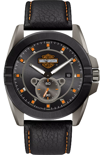 Black dial with designed seconds sub-dial inspired by the throttle mounting hardware. Luminous hands. Calendar. Gray tone stainless steel case with black ion-plated accents. Screw back. Black leather strap with orange contrast stitching and lining.