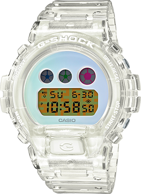 This is an entirely unique watch aside from the distinctive G-Shock shape and ridged band. The translucent white resin band and case frame the pastel face with tricolor dials and a quirky digital time display.
