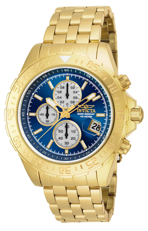 INVICTA Aviator Chronograph Blue Dial Gold-plated Men's Watch