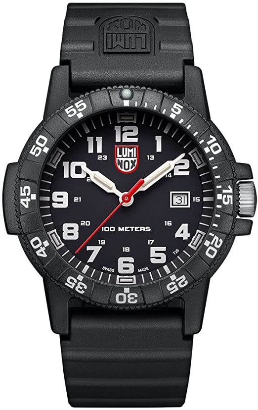 The shape of the classic Luminox design has a protected crown balanced by an opposite outcropping that has often been compared to the shape of a turtle hence the name of the collection. The all black band and case allows the white second numerals to standout and frame the black face with hour numerals, markers , and hands. In darkness, the even hour markers and hands illuminate for maximum visibility.