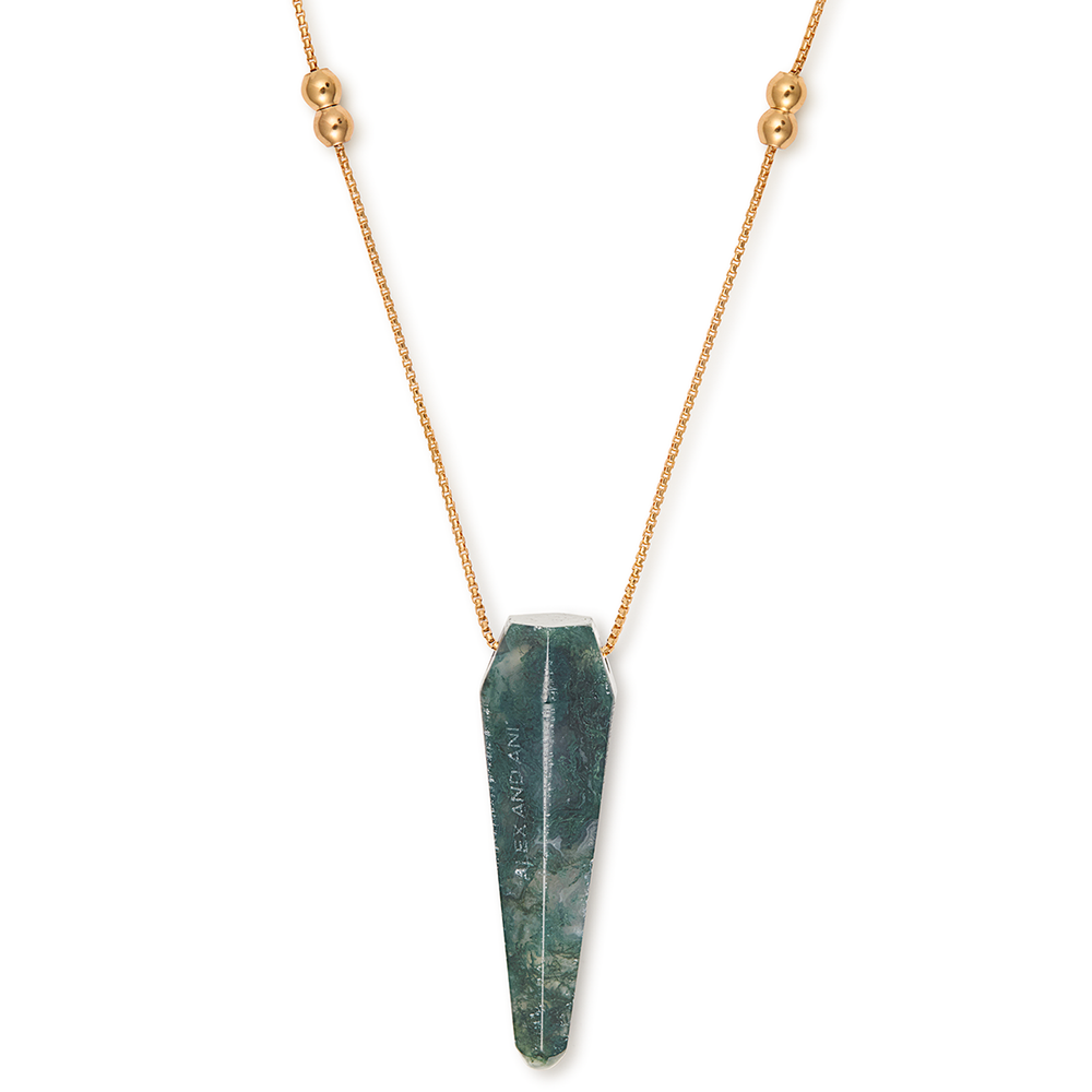 Alex and Ani Moss Agate Pendulum Necklace