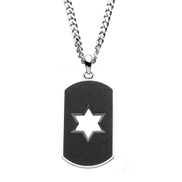 INOX Stainless Steel and Sand  Finish Open Star Dog Tag Pendant with Steel Curb Chain