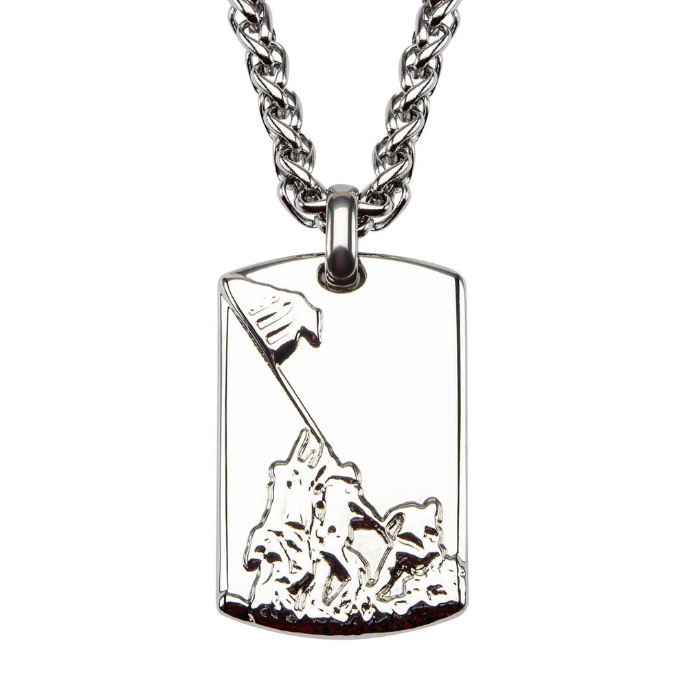 INOX Stainless Steel Raising Flag Dog Tag Pendant with Chain