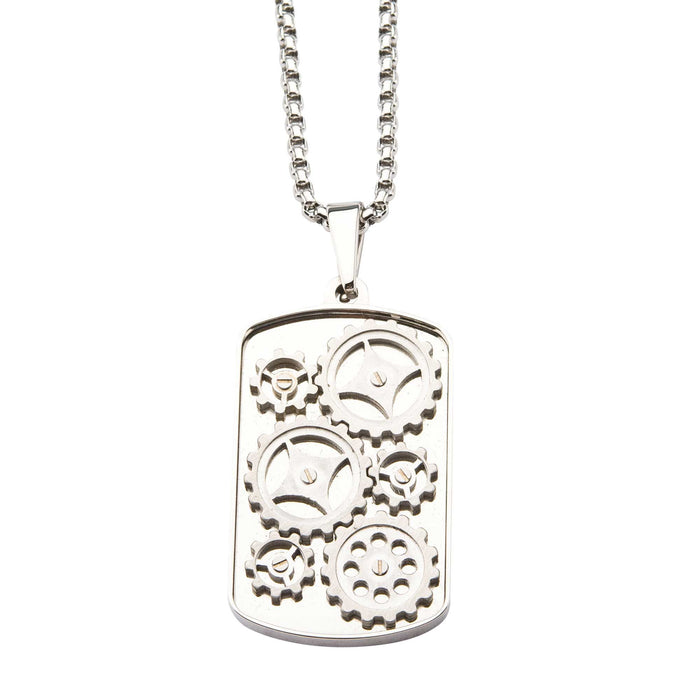 INOX Steel Gear Pendant with Chain