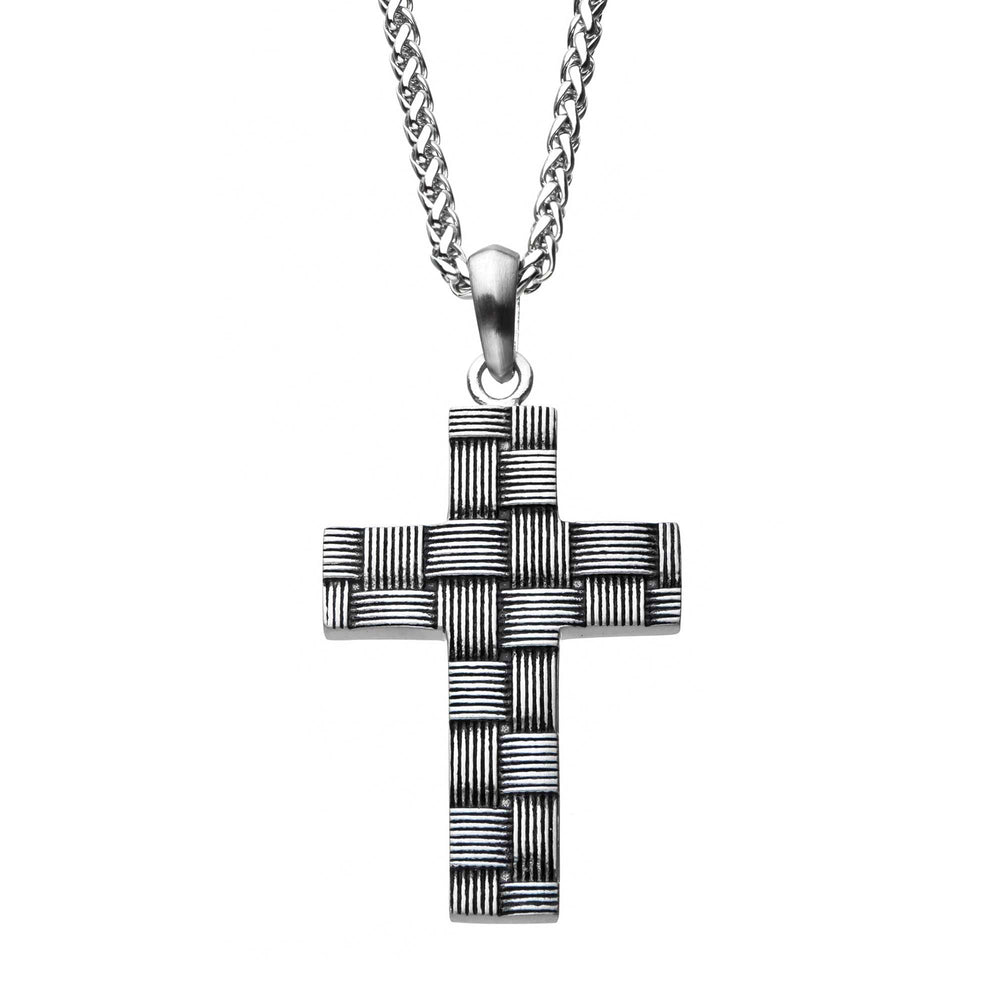 INOX Antiqued Stainless Steel Weave Pattern Cross Pendant with Chain