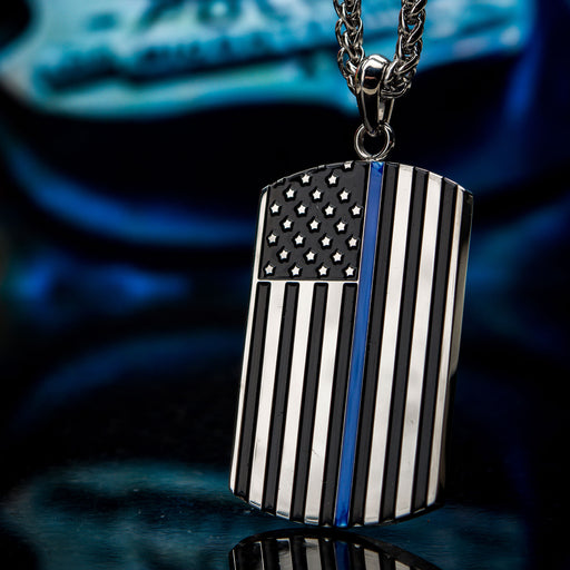 INOX Thin Blue Line American Flag Police Officer Military Style Dog Tag Enamel Pendant