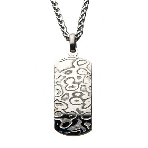 INOX Stainless Steel Damascus Dog Tag Pendant with Steel Wheat Chain