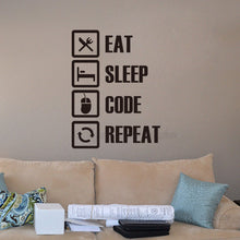 Laden Sie das Bild in den Galerie-Viewer, Wandtattoo Wandaufkleber Wandsticker Jugendzimmer Dekoration Eat Sleep Code Repeat - Wunschfieber