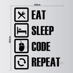 Wandtattoo Wandaufkleber Wandsticker Jugendzimmer Dekoration Eat Sleep Code Repeat - Wunschfieber