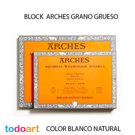 Block 20 hojas. Papel Arches 300grs.Grano Grueso