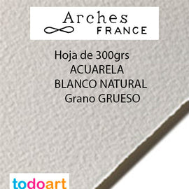 Papel Arches 300grs.Grano GRUESO. Color Natural