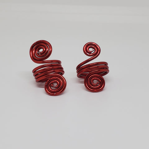 Red Hair Adornments Loc Jewelry Spiral Minis Hair Cuffs