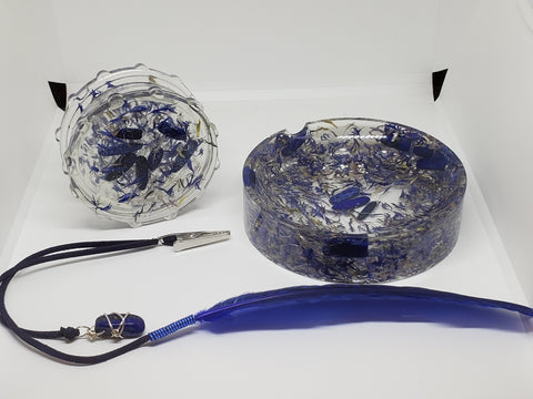 Cornflower and Lapis Lazuli Grinder and Ashtray Set Round