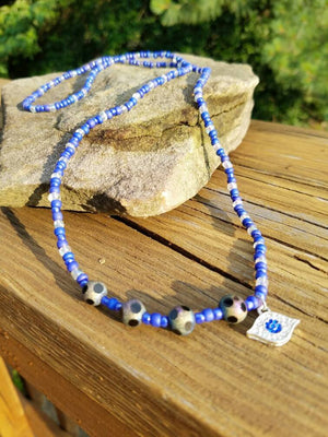 "Ole Blue Eye: Blue & Clear 16"" Hand Made African Inspired Waist Beads"