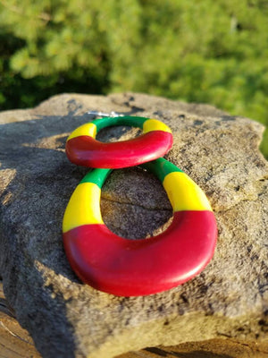 Island Earrings: Red, Yellow and Green Oval Earrings |polymer clay Earrings |Poly clay Earrings| Statement Earrings Handmade|Handcrafted