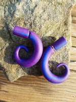 Purple & Blue Swirl| Faux Gauges | Polymer Clay| Gauges|Plugs| Gauge Earrings|PolyClay Gauges|Statement Earrings| Handmade|Hand Crafted
