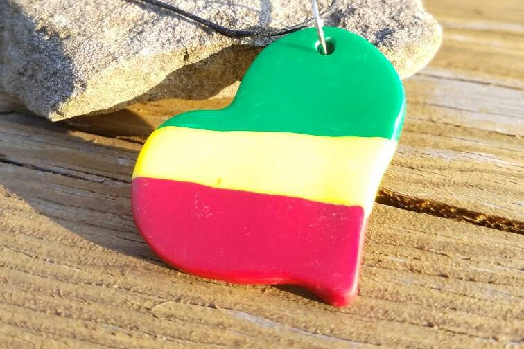 Island Heart: Red, Yellow and Green Heart pendant|polymer clay pendant| Poly clay necklace| Statement pendant| Handmade|Handcrafted