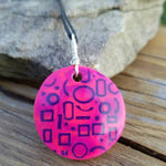 "Pink Glif: 16"" Circle Pendant Pink & Purple Polymer clay Pendant"