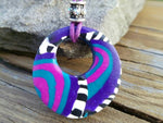 "Mixed Berries: 15"" Circle Pendant Colorful swirl polymer clay pendant"