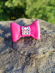 Cute Pink Bow: Pink Rhinestones Polymer clay Statement Ring