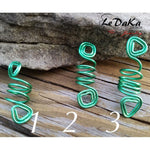 Green Hair Adornments: Handmade Wire Wrapped Loc /Braids Hair Jewelry