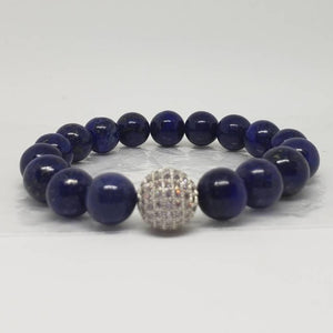 Disco Lapis: Stretch Blue Lapis Beaded Micro Pave Bracelet
