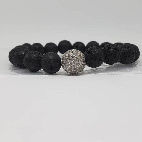 Disco Lava: Stretch Beaded Lava Stone Silver Micro Pave Braclet