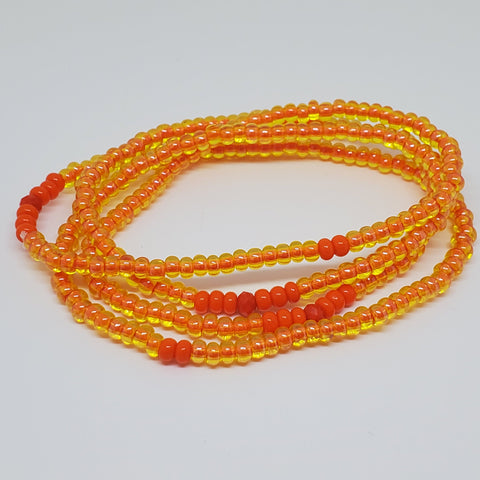 "OooRange 16 "" Hand Made Waist Beads,  Energy Jewelry, Body Jewelry, Body Chains, Summer Jewelry, Belly Beads, African Inspired"