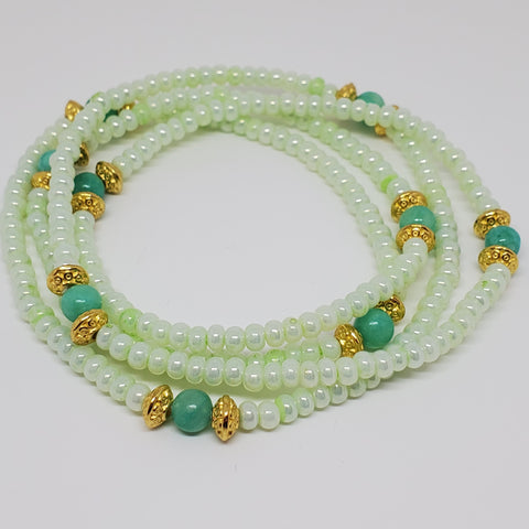 "Mint Royal 18 "" Hand Made Waist Beads, Waist Jewel,Energy Jewelry, Body Jewelry, Body Chains, Summer Jewelry, Belly Beads,African Inspired"