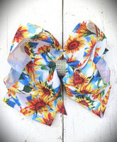 Blue Sunflower Jojo Bow