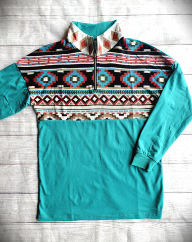 Turquoise Aztec Pullover