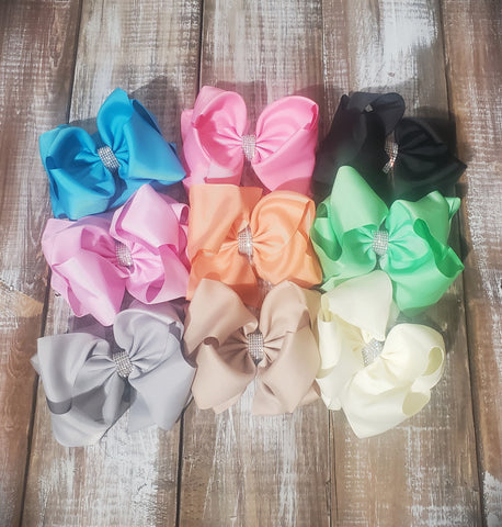 Solid Color Bling Bows