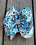 Aqua and Coral Cheetah Bow