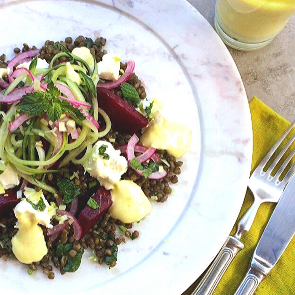 Lentil Beet Salad with Creamy Lemon Dressing (Gluten-free. Grain-free. Dairy-free)
