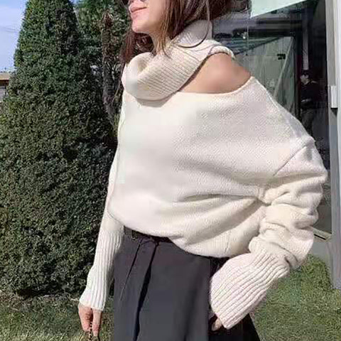 Womens High Collar Off-the-shoulder Sweater