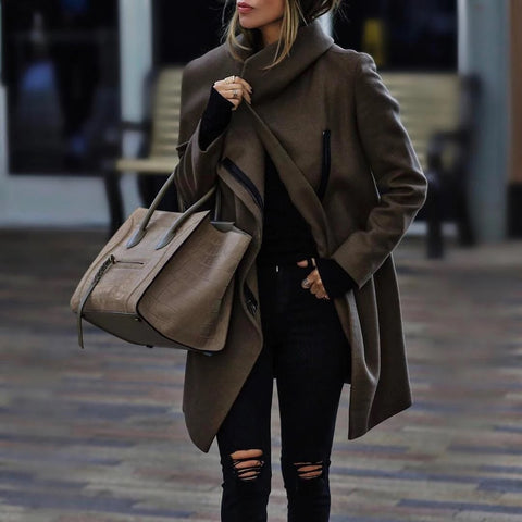 Women's Fashion Metal Zipper Turndown Collar Loose Overcoat