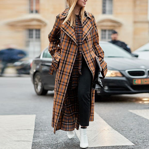 Fashion plaid lapel long sleeve coat
