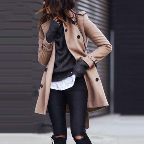 Fashion Turndown   Collar Pure Colour Long Sleeve Coat